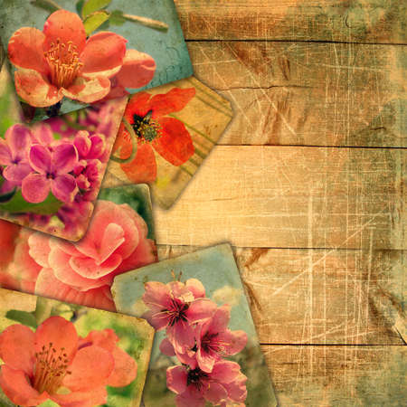 pastiche: Template for design page photo book. Beautiful old postcards on wooden planks with scratches. Postcards it is not in the public domain. This vintage pastiche of my photos
