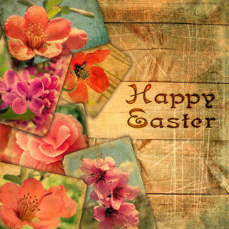 Template for design page photo book  with  stamping Happy Easter. Beautiful old post cards on wooden planks with scratches. Postcards are not public domain - a design of my photos in retro style.