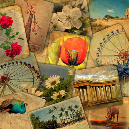 cover page: Background of the old cards for the cover, pages design photo album, photo books  in retro style.
