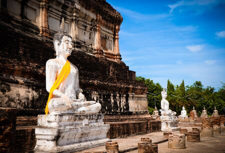 The Buddha statue and ancient remains in the Thailand