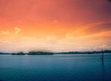 River and sky is orange