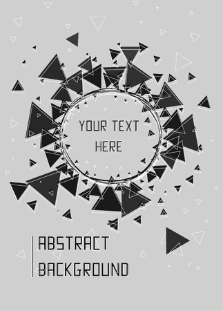 radial cracks: Black and white triangles, stars and circle pattern background. Triangle sunburst with round triangle frame design. Modern design template, vector illustration.