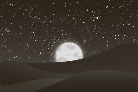 white sky: Night vector background. Landscape hills, river, moon and shining stars on  black and white sky.  EPS 10
