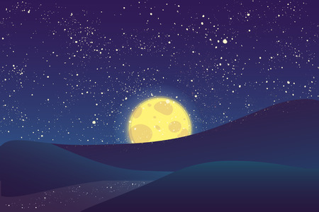 night sky stars: Night vector background. Landscape hills, river, moon and shining stars on blue sky.