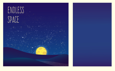 milkyway: Night vector background. Landscape hills, river, moon and shining stars on endless sky. Beautiful backdrop for your creative ideas.