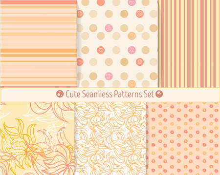 scrap booking: Cute hand-drawn seamless patterns. Endless texture for paper or scrap booking. All patterns in swatches panel.