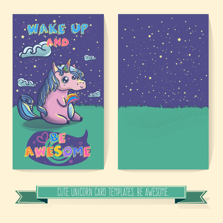 awesome wallpaper: Hand drawn fantasy cartoon unicorn card, cute doodle. Templates for your creative ideas. Illustration