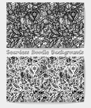 rockabilly: Hand drawn cartoon black and white psychedelic doodle seamless pattern. Funny sketch rockabilly vector background for your amazing ideas. Illustration