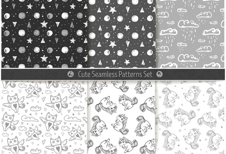 unicorn: Cute hand drawn seamless patterns. Endless texture for paper or scrap booking with unicorns, clouds, cats and stars.