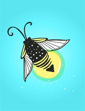 Hand-drawn cute cartoon firefly bug design. Vector illustration. Illustration