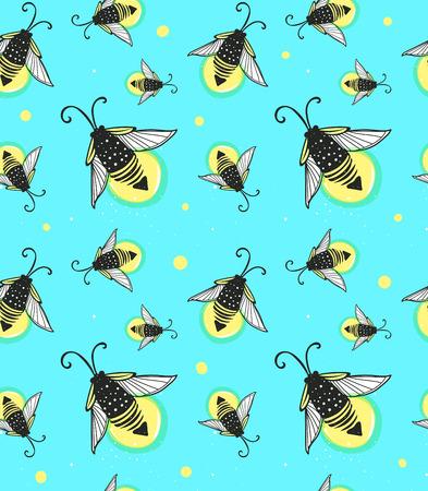 firebug: Hand-drawn seamless cartoon fireflies bugs design. Vector illustration. Illustration