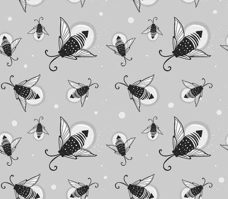 glowworm: Hand-drawn seamless cartoon fireflies bugs design. Vector illustration. Illustration