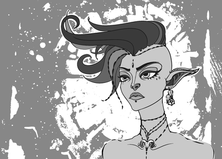 elven: Conceptual fantasy character, vector illustration. Portrait of a elven punk girl with mohawk. Monochrome hipster vintage art for poster, flayer or t-shirt print.