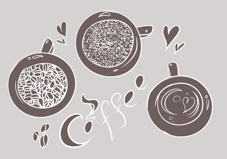 kiss biscuits: Doodle coffee cups. Hand drawn vector illustration.