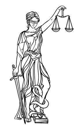 Themis diosa de la justicia. ilustración vectorial Femida. Justicia etiqueta estatua, escalas del símbolo de la justicia, la diosa de la señora de la justicia. Ilustración de vector