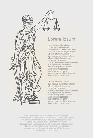 Themis goddess of justice. Femida vector illustration. Justice statue label, scales of justice symbol, lady goddess of justice. Illustration