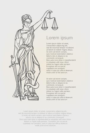 Themis godin van rechtvaardigheid. Femida vector illustratie. Justitie standbeeld label, schalen van rechtvaardigheid symbool, dame godin van rechtvaardigheid.