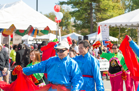 multiple ethnicities: Maryland, USA - Oct.18,2015: Parade of  Cultures at the 7th Annual World of Montgomery 2015 Festival.