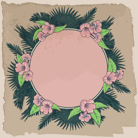 palm wreath: Tropical thicket. Palm tree leaves and yellow trumpetbush flowers wreath. Retro summer design template. Decorative symmetrical circular frame. EPS10 vector illustration.