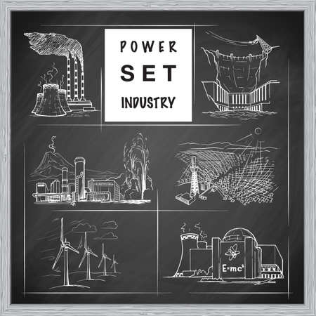 concerns: Various power stations. Illustration on environmental concerns of power industry. Set of icons. Sketch imitating chalk drawing on a blackboard. Sketch is isolated on a separate layer. EPS10 vector illustration.