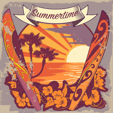 tropical beach panoramic: Peaceful sea sunset panorama with two surfboards, tropical plants  and sun rays. Warm palette. Surfing badge. Vintage poster. EPS10 vector illustration. Illustration