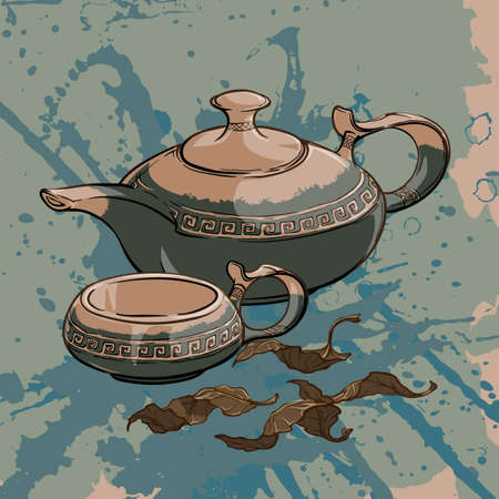 oolong: Tea party served: ceramic teapot and cup with some dry tea leaves. Sketch imitating ink pen drawing with a grunge background on a separate layer. EPS10 vector illustration.
