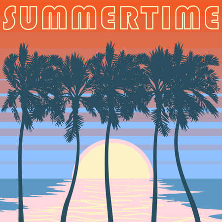 Pacific ocean palm beach. Summer tropical heat print. Summertime print vector illustration, Palm trees  and sunset illustration. Sunset sky in stripes. EPS10 vector illustration. Illustration