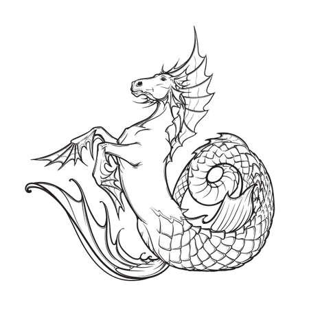kelpie: Hippocampus greek mythological creature. Kelpie scottish fairy tale water horse. Black and white hand drawn sketch