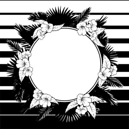 palm wreath: Tropical thicket. Palm tree leaves and trumpetbush flowers wreath. Trendy black and white background summer design template. Decorative circular frame.