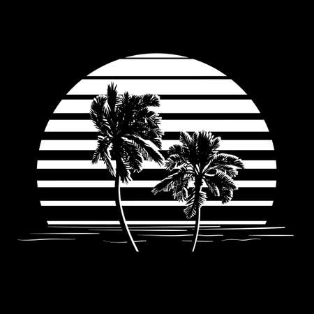 tree silhouettes: Summer holiday design. Tropic sunset. Palm trees silhouettes on black and white stripes. Minimalistic style Illustration