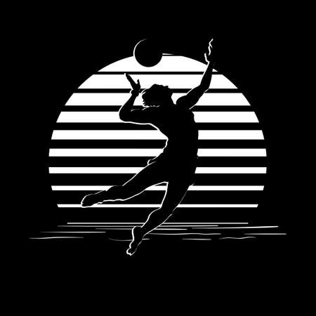 Summer holiday activity design. Tropic sunset. Man playing beach volleyball silhouettes on black and white stripes. Minimalistic style illustration.