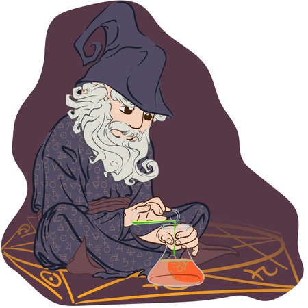 alchemist: Funny cartoon style ancient Alchemist sitting inside pentagram and setting an experiment Illustration