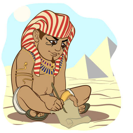 stylus: Funny cartoon style ancient Egyptian wrighting on a papyrus with a stylus.