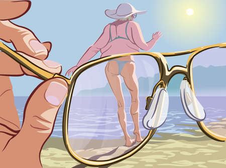 middle age woman: Comic illustration of the modern men attitude to the beauty standards. Man looking at the obese lady through the magic glasses which make her look young and slim. Illustration