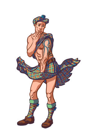 Playful muscular guy in Skottish traditional kilt cosplaying Merlin Monroe. Stock Illustratie