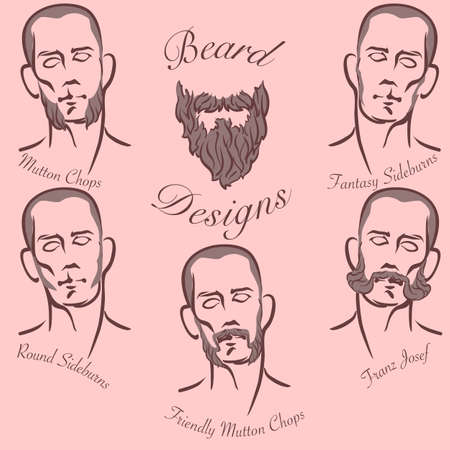 sideburns: Popular styles of sideburns and sideboards grooming. Illustration