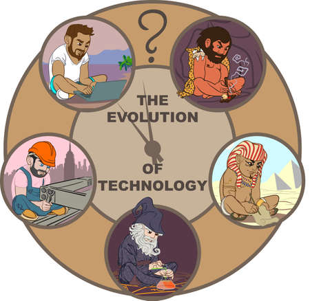 alchemist: Five colorful cartoon characters illustrating science and technologiy evolution of the mankind.