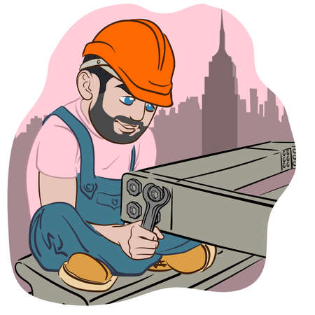 steel worker: Funny cartoon style construction worker with a spanner joining steel beams of a building frame.  vector illustration.