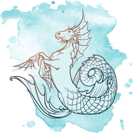 Hippocampus greek mythological creature. Kelpie scottish fairy tale water horse. Vintage tattoo design. Sketch on a grunge background.  vector illustration.