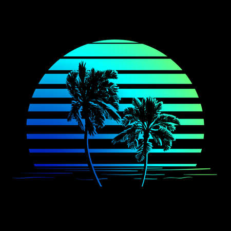 sunset palm trees: Summer holiday design. Tropic sunset. Palm trees silhouettes on black and blue-green stripes.