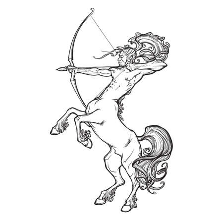 Rearing Centaur holding bow and arrow. Boho style look. Vintage style illystration. Vintage tattoo design. Stock Illustratie