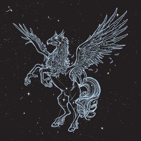 beast creature: Hippogriff greek mythological creature.. Legendary beast concept drawing. Heraldry figure. Vintage tattoo design.