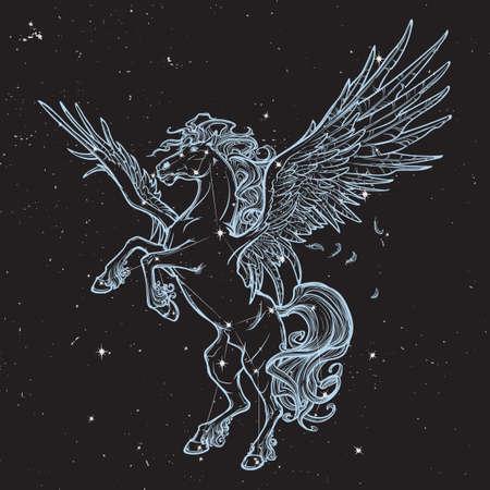 Pegasus creatura mitologica greca. disegno concetto bestia leggendaria. disegno del tatuaggio Vintage. illustrazione vettoriale.