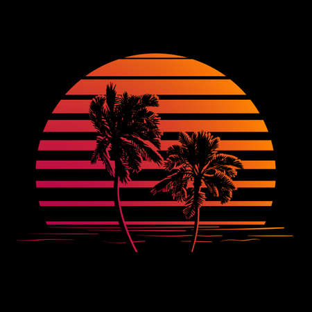 sunset palm trees: Summer holiday design. Tropic sunset. Palm trees silhouettes on black and orange stripes. Minimalistic style Illustration