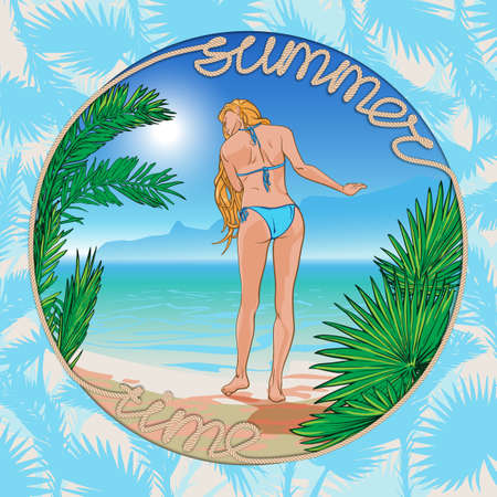 sea side: Tropic Paradise. Young beautiful blond girl wearing blue bikini with a sea side panorama on a background framed with palm leaves and a sign made of a rope.  vector illustration. Illustration