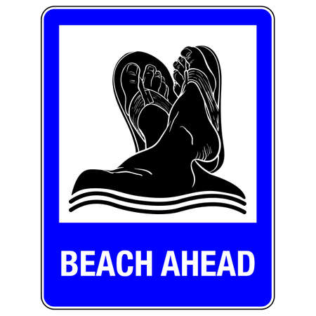informs: Comical drawing imitating road sign. The sign informs about beach or other seaside facility ahead.  vector illustration. Illustration