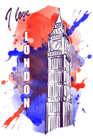 houses of parliament   london: Big Ben drawn in a simple sketch style. Isolated contour on watercolor spot.  vector illustration.