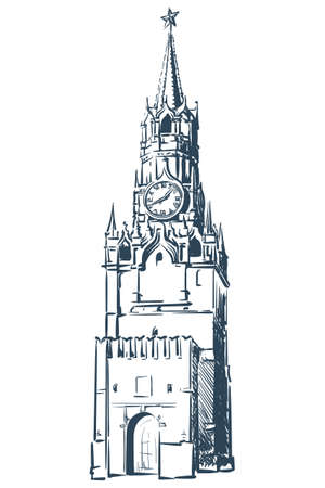 spasskaya: Spasskaya Tower in Moscow Kremlin drawn in a simple sketch style. Isolated contour on white Illustration