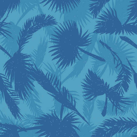 hues: Palm trees leaves seamless pattern in cold hues Illustration