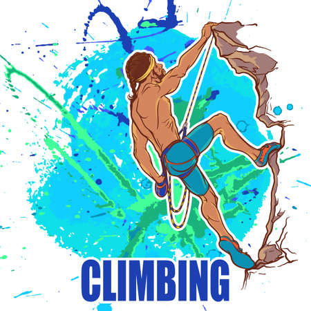 rock climber: Rock climber. Sketched  athletic man climbing up the cliff. Grunge background with paint spots and splashes.  vector illustration.